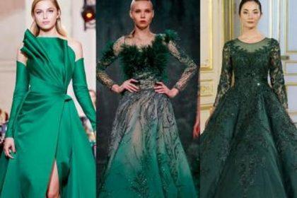 فستان سهرة باللون الأخضر اللامع