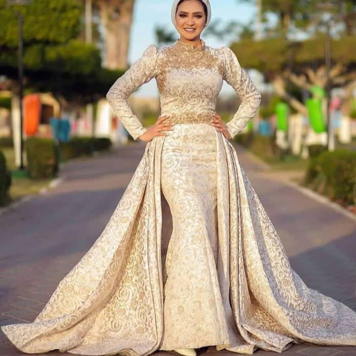 فستان سك خطوبة للمحجبات