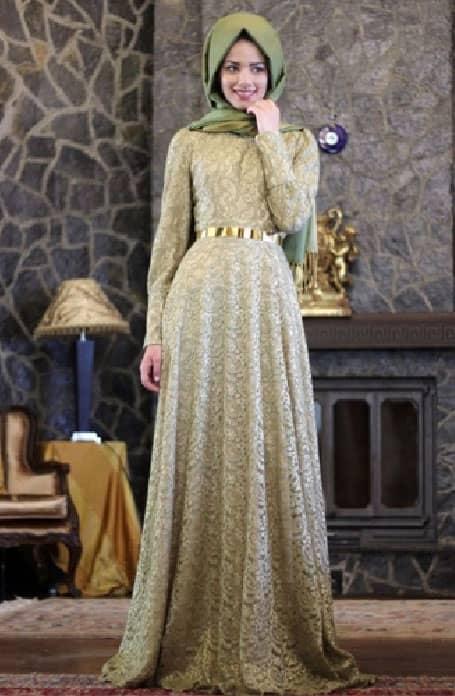 فستان سواريه محجبات مع حزام ذهبي