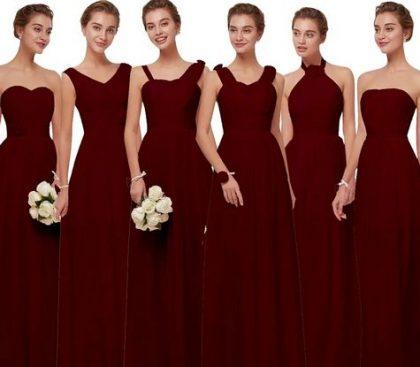 فستان شيفون باللون العنابي