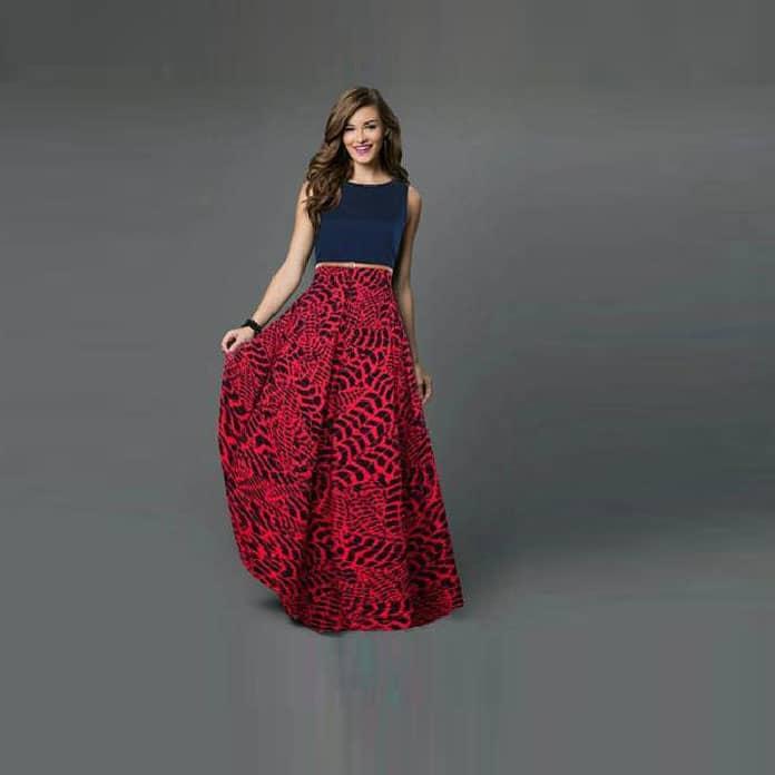 فستان-طويل-أحمر-تصميم-غربي