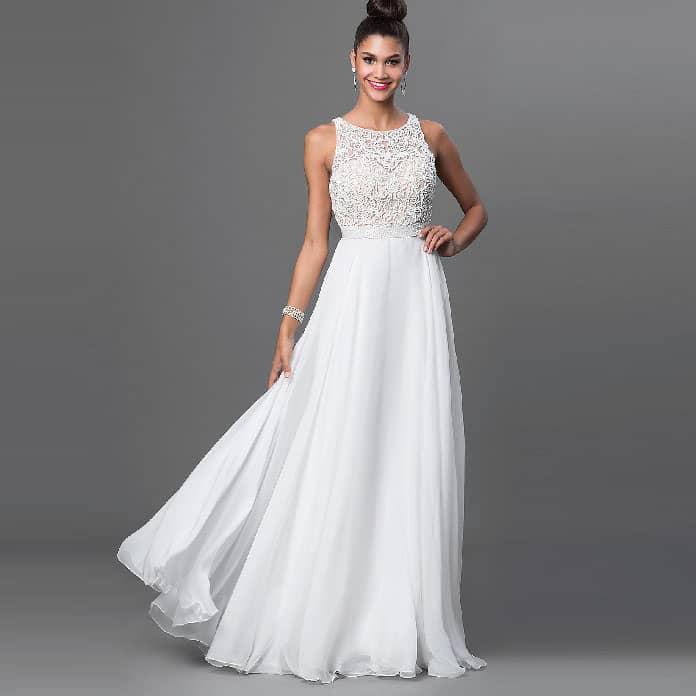 فستان-طويل-للسهرة-باللون-الأبيض
