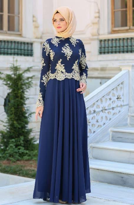 فستان محجبات سواريه أزرق