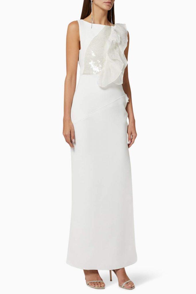 فستان سهرة تريلينغ أورجانزا بكشكش
