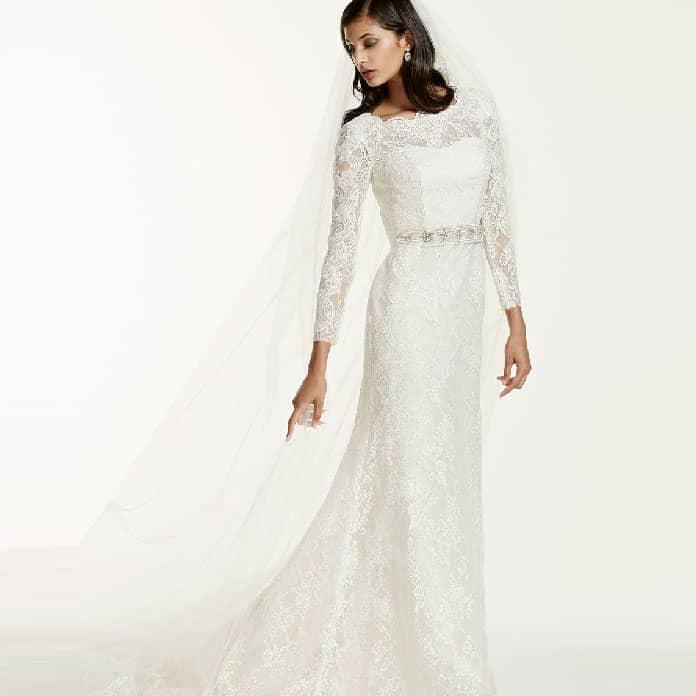 موديل-فستان-طويل-مع-اكمام-للزفاف