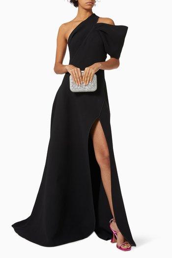 فستان سهرة بكتف مكشوف لون اسود ساحر