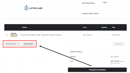 How to use my Astrolabs coupons, Astrolabs promo codes & Astrolabs offers to book online courses