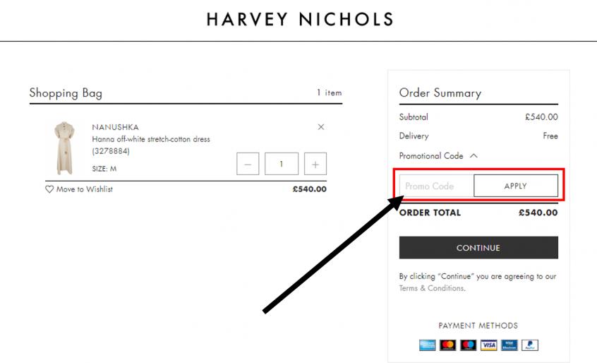 كيف أستخدم كود خصم هارفي نيكلز أو كوبون هارفي نيكلز ضمن كوبونات وعروض هارفي نيكلز عبر الموفر على موقع هارفي نيكلز Harvey Nichols ؟