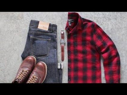 قميص أحمر كاروهات وبنطلون جينز