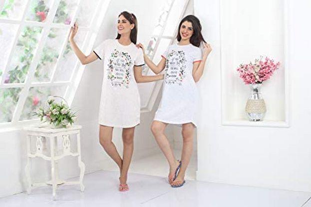 قميص نوم اشيك ملابس قطنية نسائية للبيت