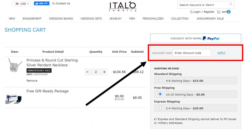 How to use my Italo jewelry promo codes, Italo jewelry coupon codes & Italo jewelry offers to shop online