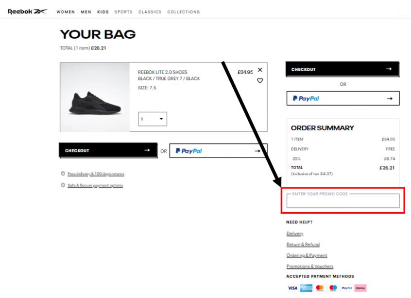 كيف أستخدم كود خصم ريبوك أو كوبون ريبوك ضمن كوبونات وعروض ريبوك عبر الموفر عند شراء احذية ريبوك أو ملابس ريبوك على موقع ريبوك Reebok ؟