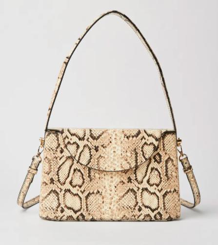 حقيبة يد صغيرة وصلبة بنقشة جلد الأفعى من مانغو