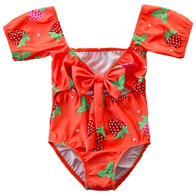 SUGAR RUSH - ملابس سباحة برقبة على شكل V بطبعة بطيخ - برتقالي